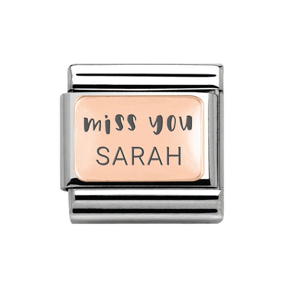 Classic Rose Gold Personalised Miss You Charm