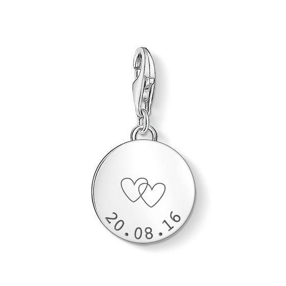 Silver Date With Hearts Disc Charm