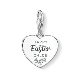 Charm Club Silver Personalised Happy Easter Heart Charm