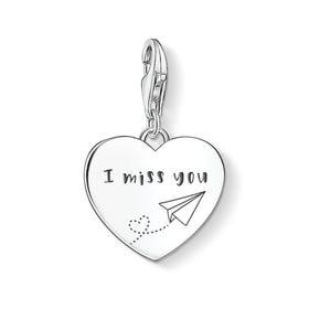 Charm Club Silver I Miss You Heart Charm