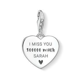 Charm Club Silver I Miss You Sooooo Much Heart Charm