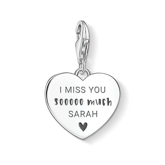 Charm Club Silver I Miss You Sooooo Much Heart Charm