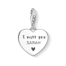 Charm Club Silver Personalised I Miss You Heart Charm