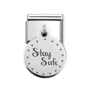 Classic Silver Stay Safe Round Pendant Charm