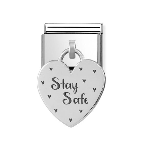 Classic Silver Stay Safe Heart Pendant Charm