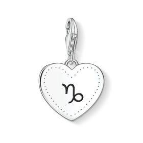 Charm Club Silver Capricorn Sign Heart Charm