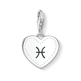 Charm Club Silver Pisces Sign Heart Charm