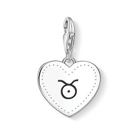 Charm Club Silver Taurus Sign Heart Charm
