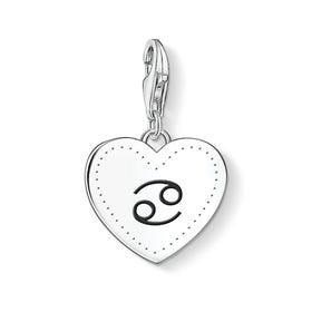 Charm Club Silver Cancer Sign Heart Charm