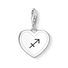 Charm Club Silver Sagittarius Sign Heart Charm