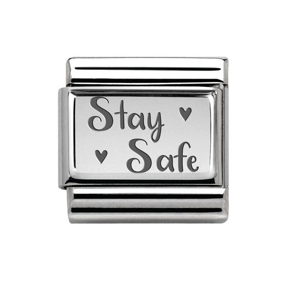 Classic Silver Stay Safe Charm