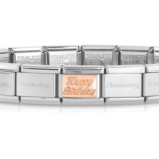 Classic Rose Gold Happy Birthday Charm Bracelet