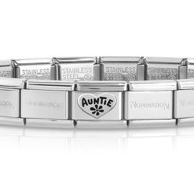 Classic Silver Auntie Heart Charm Bracelet