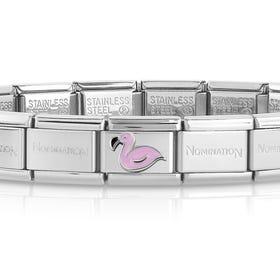 Classic Silver & Enamel Flamingo Charm Bracelet