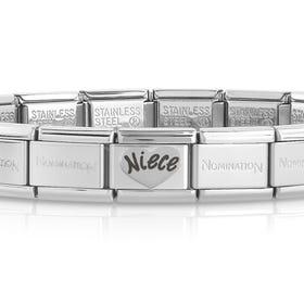 Classic Silver Niece Heart Charm Bracelet