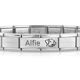 Classic Silver Dog Engravable Charm Bracelet