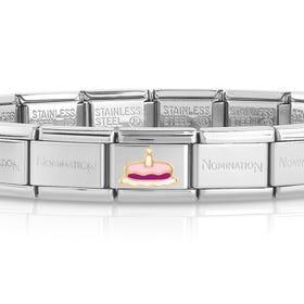 Classic Gold Pink Birthday Cake Charm Bracelet