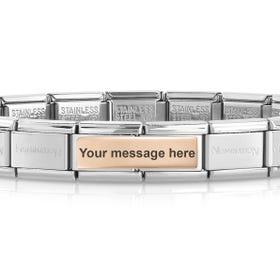 Classic Rose Gold Engravable Double Charm Bracelet