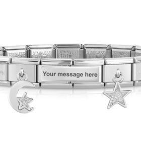 Classic Silver Moon & Stars Engravable Charm Bracelet
