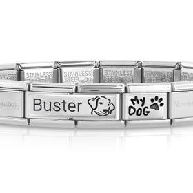 Classic Silver My Dog Engravable Charm Bracelet