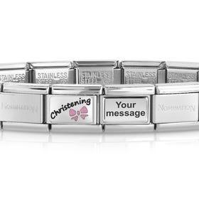 Classic Silver Pink Christening Engravable Charm Bracelet