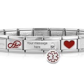 Classic Silver Love Medical Charm Bracelet
