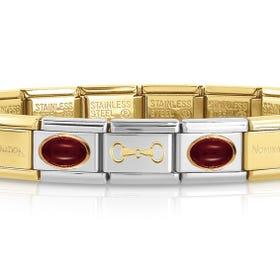 Classic Gold & Agate Snaffle Bit Charm Bracelet