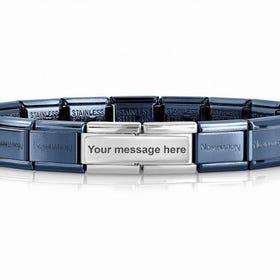 Classic Blue & Silver Engravable Double Charm Bracelet