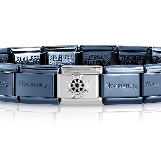 Classic Blue & Silver Boat Wheel Charm Bracelet