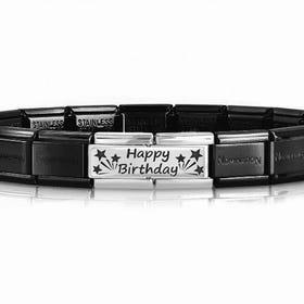 Classic Silver Happy Birthday Double Charm Bracelet