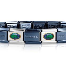 Classic Blue & Gold Opal Charm Bracelet