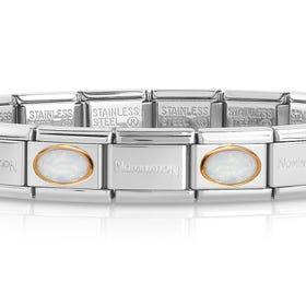 Classic Gold White Opal Charm Bracelet