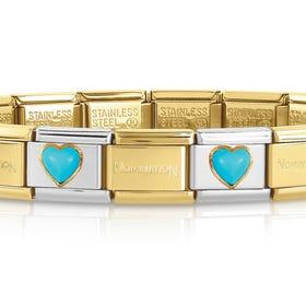 Classic Gold Turquoise Heart Charm Bracelet
