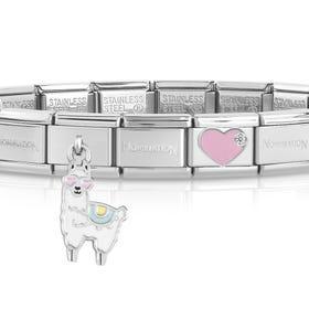 Classic Silver Llama Heart Charm Bracelet