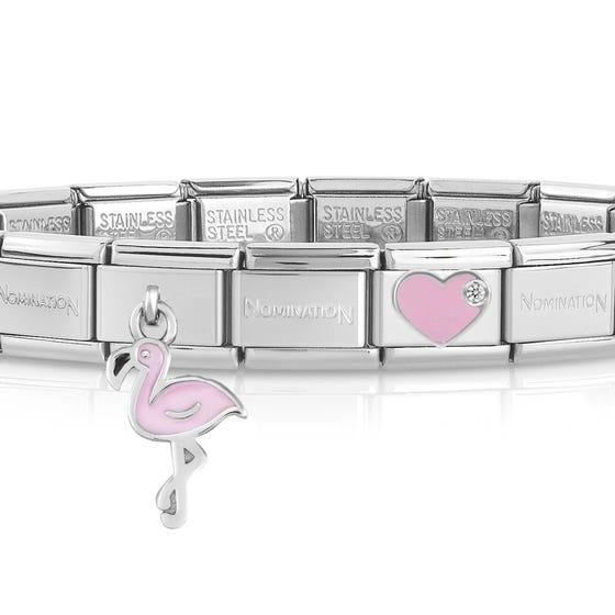 Classic Silver Flamingo Heart Charm Bracelet