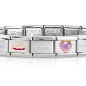 Classic Gold Pink Birthday Cake Heart Charm Bracelet
