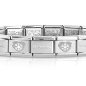 Classic Silver Snowflake Heart Charm Bracelet