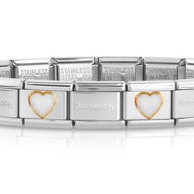 Classic Gold White Opal Heart Charm Bracelet