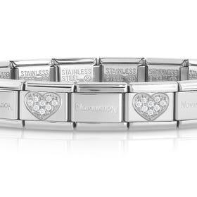 Classic Silver CZ Heart Charm Bracelet