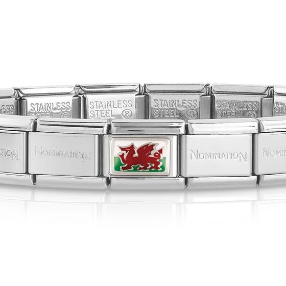 Classic Silver Wales Flag Charm Bracelet