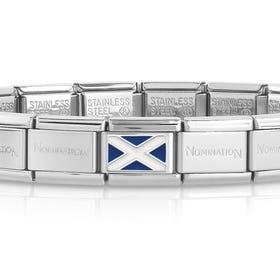 Classic Silver Scotland Flag Charm Bracelet
