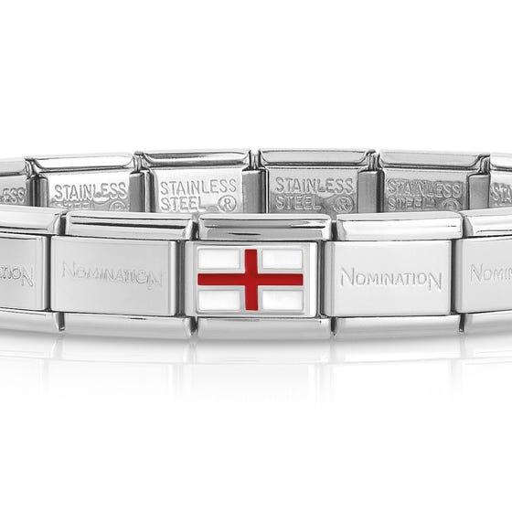 Classic Silver England Flag Charm Bracelet