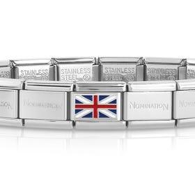 Classic Silver Union Jack Flag Charm Bracelet