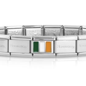 Classic Silver Ireland Flag Charm Bracelet