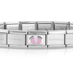 Classic Silver Baby Pink Footprints Charm Bracelet