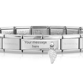 Classic Silver White Wing Engravable Charm Bracelet
