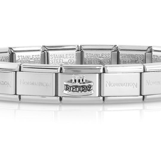 Classic Silver Birthday Cake Charm Bracelet