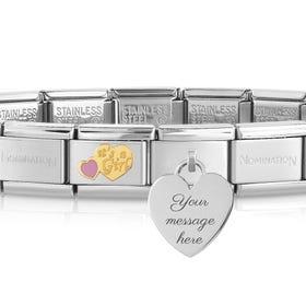 Classic Gold It's A Girl Engravable Charm Bracelet