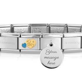 Classic Gold It's A Boy Engravable Charm Bracelet
