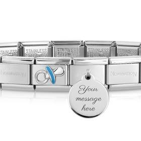 Classic Silver Blue Dummy Engravable Charm Bracelet